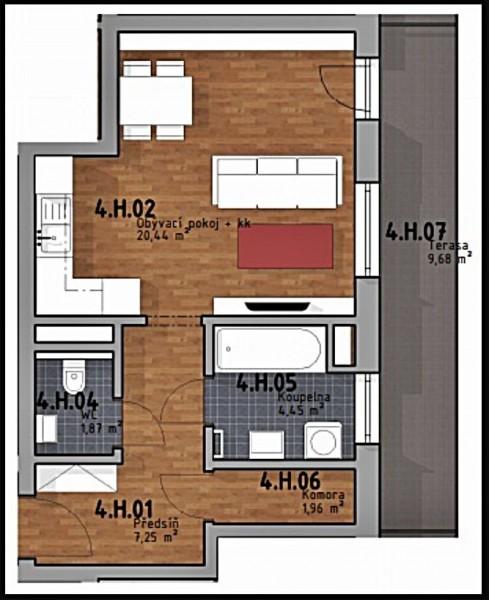 Prodej bytu 1kk,  36m2 +9,7 m2 terasa v