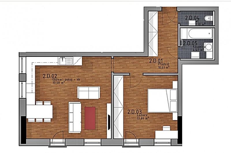Prodej bytu 2kk,  65,7m2+ předzahrádka 52m2 v