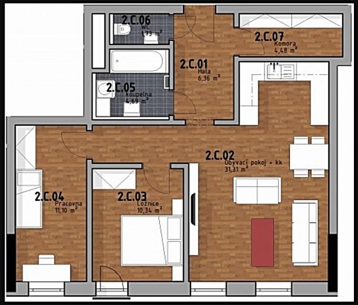 Prodej bytu 3kk,  70m2 s předzahrádkou 16m2 v